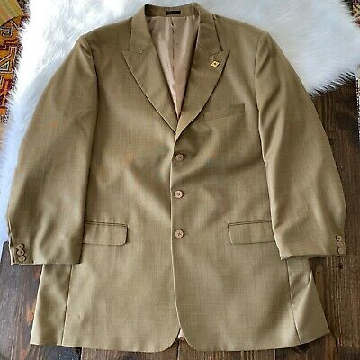 Stacy Adams Mens 52 Tan Beige 3 Button Lined Poly Rayon Blend Suit Blazer Jacket
