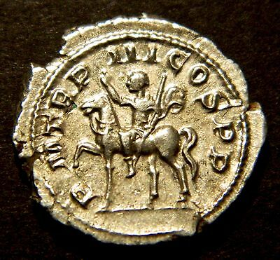 ANCIENT ROMAN COIN: GORDIAN III riding horse, 240AD, SCARCE silver denarius EF+