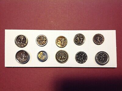 TEN 19th CENTURY BRASS PICTORIAL BUTTONS. SIZE SMALL.