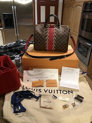 AUTHENTIC LOUIS VUITTON SPEEDY 30 BANDOULIERE KARAKORAM DAMIER EBENE W/shaper