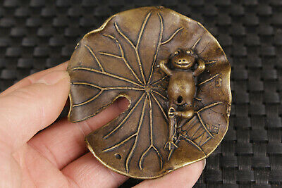 chinese bronze hand carved frog statue incense burner stand ornament