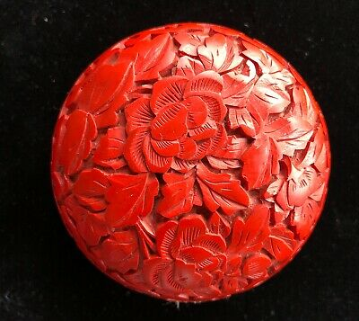 """Small Round Chinese Carved Cinnabar Floral Box - 2-1/2"""" - Blue Enamel Inside"""