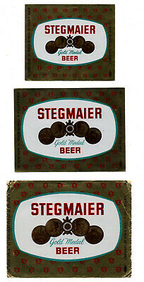 3 - 1950s STEGMAIER BREWING CO, WILKES-BARRE, PA FOIL BEER 8 - 12 -32 OZ LABELS