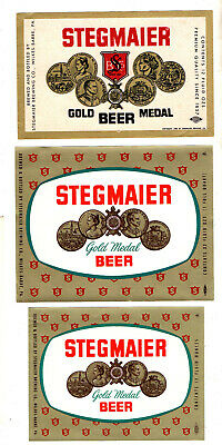 3 - 1950s STEGMAIER BREWING CO, WILKES-BARRE, PA GOLD MEDAL BEER 12 & 32 LABELS