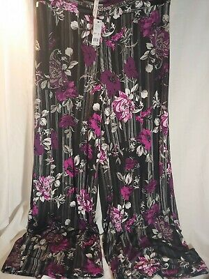 NY Collection Womens Pants Purple Size 1X Plus Wide-Leg Floral Stretch $54