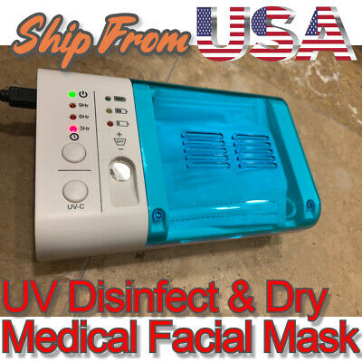 UV DISINFECTION STERILIZER Drying Box Fits Facial Cover Kill 99.9% Germs & Virus