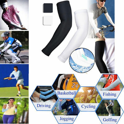 2Pairs UV Sun Protection Compression Cooling Sports Arm Sleeves Warmer Covers