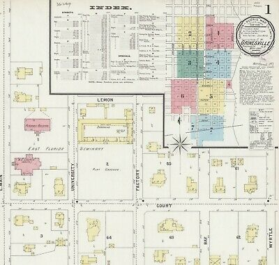 Gainesville, Florida~Sanborn Map© sheets~1884,1887,1892,1897~18 maps on a CD