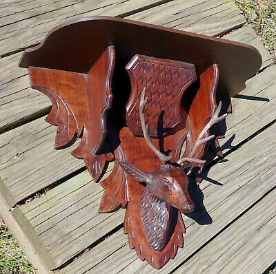 Antique Victorian Black Forest Walnut Carved Deer Stag Wall Clock Shelf