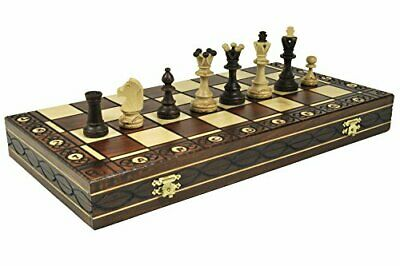 Large Wooden Chess 19 Inch Full Set Vintage Game Gifts Hand Carved Board Pieces