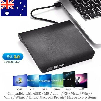 External Drive USB Portable Burner CD RW DVD ROM Reader WriterFor Windows Laptop