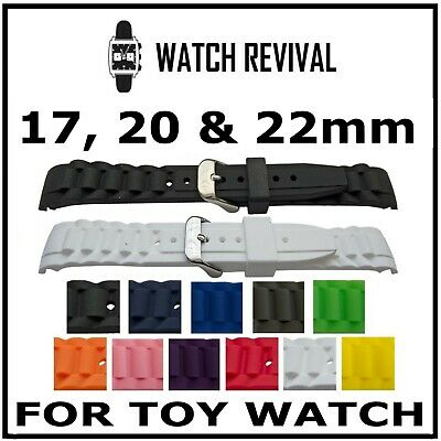 High Quality Replacement Rubber Curved End Strap For Toy Watch 17Mm, 20Mm, 22Mm