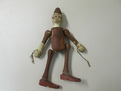 Unique Antique Wooden Jointed Toy Folk Art Clown Doll Used Not Abused Condition