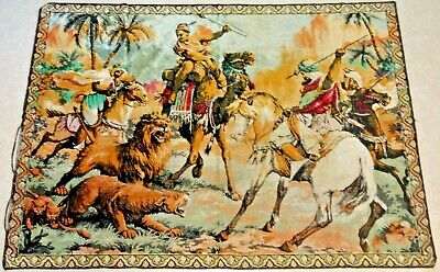 "Large 46""x64"" Vintage Woven Tapestry/ Wall Hanging Rug Middle East Lion Hunting"