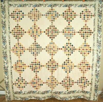 1830's Postage Stamp Antique Quilt Top ~VERY EARLY FABRICS & CHINTZ BORDER!