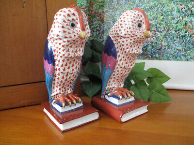 """HEREND Hand Painted Owl Bookends ~ Rust ~ Pair (Right and Left) ~ 8"""" High"""