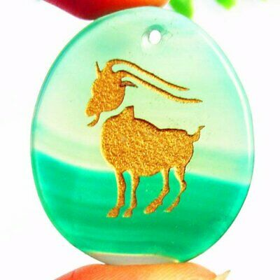 Carved Golden Aries Green Stripes Onyx Agate Oval Pendant Bead L13697