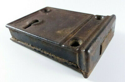 SMALL ANTIQUE CAST IRON EDGE RIM DOOR LOCK 1800s