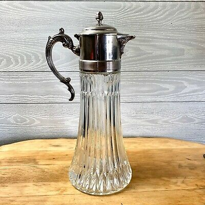 Vintage Tall Glass & Silverplate Iced Beverage Serving Carafe Pitcher