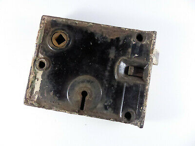 ANTIQUE RIM LOCK CAST IRON DOOR LOCK 1800s