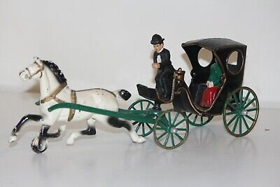 Vintage Antique Cast Iron Horse & Buggy / Carriage With Driver And Passenger