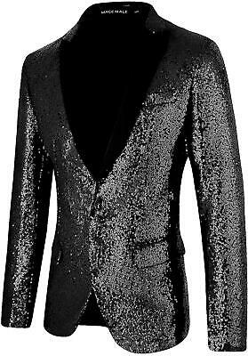 MAGE MALE Men's Shiny Sequins Suit Jacket Blazer One Button Tuxedo for Party,Wed