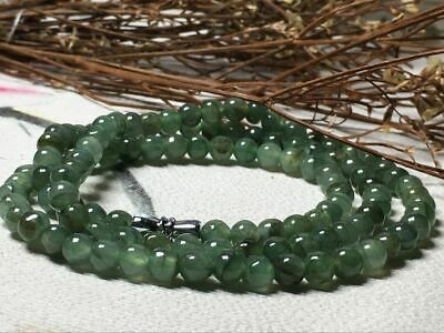 5.5mm 100% Natural A Oil Green Emerald Jade Beads ~Necklace Have certificate0940