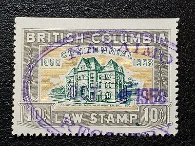#427 Canada Stamp #BCL46 British Columbia 10 Cents Law Stamp Revenue BC CV: $15