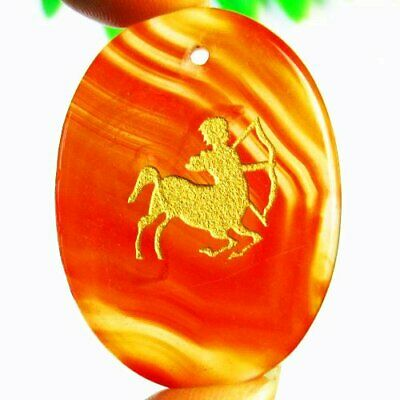 Carved Golden Sagittarius Red Stripes Onyx Agate Oval Pendant Bead L13704