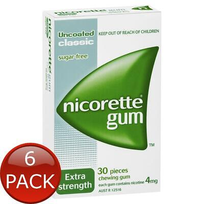 6 x NICORETTE GUM EXTRA STRENGTH UNCOATED CLASSIC 4MG 30 PACK