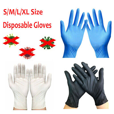 100x Disposable Gloves Powder Free Latex Free Black Nitrile Comfort Hand Covers