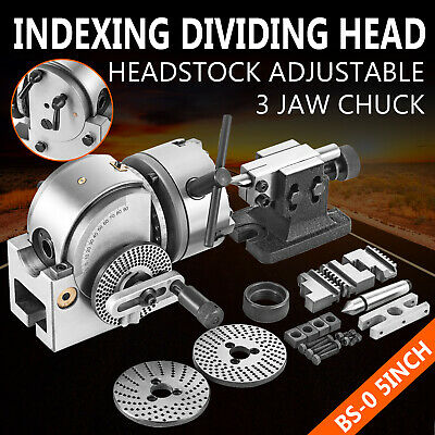 """BS-0 Semi 5"""" Indexing Spiral Dividing Head 3-Jaw Chuck Tailstock For CNC Milling"""