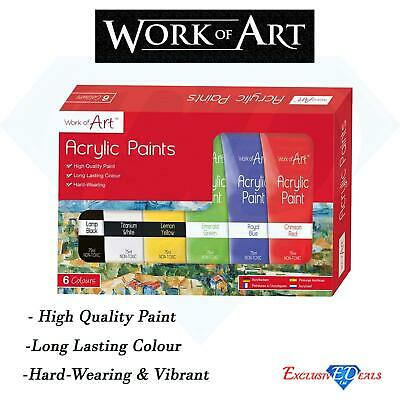Work of Art Pack of 6 Assorted High Quality Acrylic Paints Set (75ml)