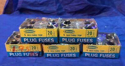 Lot Of 5 Boxes Of 5 (25) Leviton Glass Plug Fuses 20A 125V 6700-20  NOS