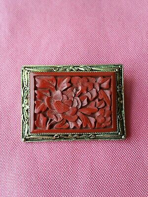 ANTIQUE CHINESE EXPORT SILVER CINNABAR BROOCH marked rare very collectible