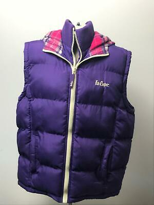 Girls Lee Cooper Purple Hooded Padded Bodywarmer Jacket Kids Age 11-12 Years