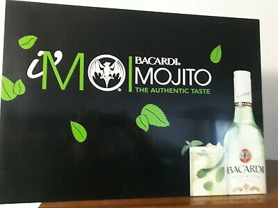 Cartello Pubblicitario Rum Bacardi Mojito The Autentic Taste In Metallo 70 X 50