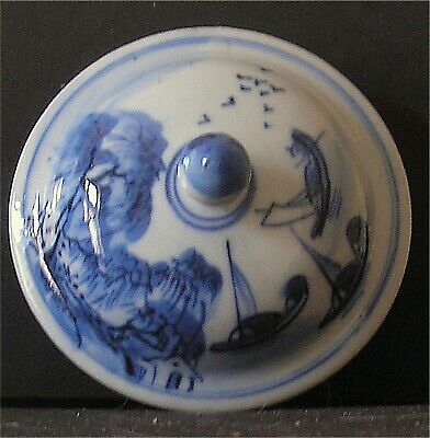 Antique Chinese  Porcelain Blue & White Hand Painted Vase Lid Only