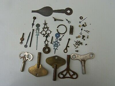 "Antique Clock Parts "" Job Lot"" Hands Keys Etc"