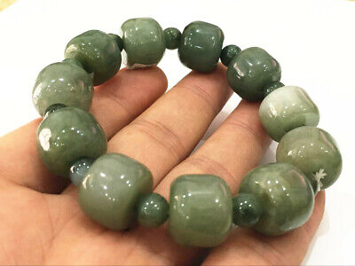 Chinese Exquisite Handmade Carving jadeite jade beads Bracelet certified2567