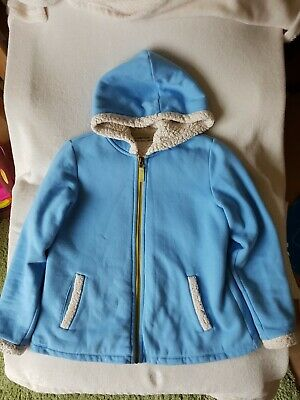 Lands End Girls Fleece Lined zip up Hoody Coat Jacket.  Sky Blue Age 10-12 Vgc
