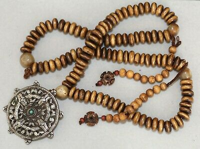 Antique Tibetan Chinese carved bead buddhist Mala, Qing Dynasty, 19th century.