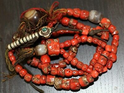 Antique Tibetan carved Coral & Zi bead buddhist Mala, Qing Dynasty, 204 grams.