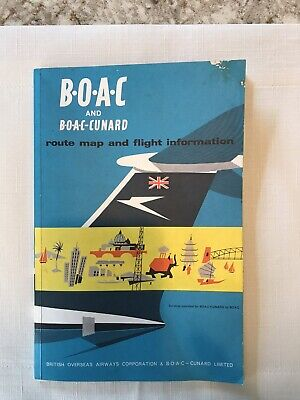 Vintage BOAC Airline/BOAC Cunard Route Map and Flight Info Booklet Circa 1960s
