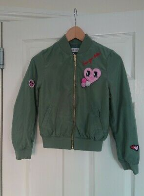 H&M Girls Green Bomber Jacket Age 8-9 Spring Summer Good Condition
