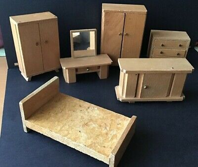 Vintage Dolls House Wooden Bedroom Furniture Art Deco - Dol Toi Glass Mirror