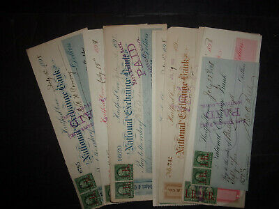 12 revenue stamp bank checks SC#R153 I.R. overprint red Connecticut 1898 ID#2623