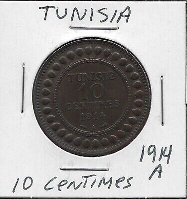 Tunisia French Protectorate 10 Centimes 1914-A Low Mintage 500,000,Legend:muhamm