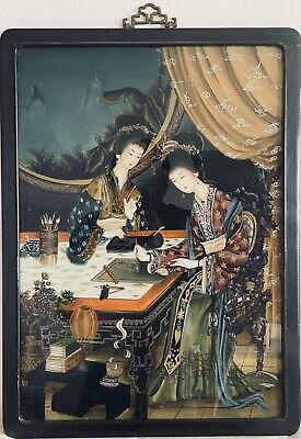 Antique Chinese Reverse Painting on Glass Court Ladies Calligraphy Writing