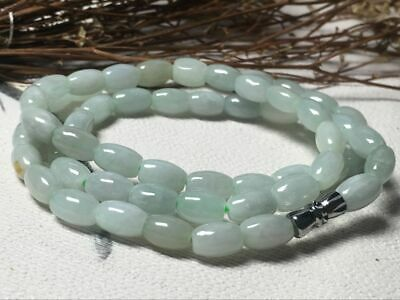 6x9mm 100% Natural A Oil Green Emerald Jade Beads ~Necklace Have certificate0920
